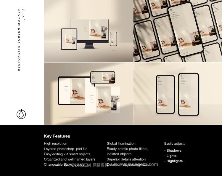 苹果iPhone手机ipad平板iMac电脑ui界面设计ps贴图样机素材模板图片
