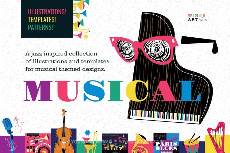 音乐节主题配色海报主视觉矢量素材图片
