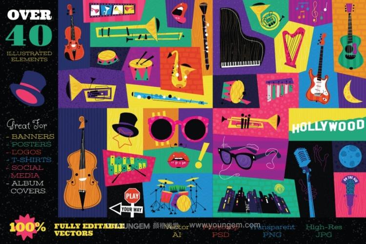 音乐节主题配色海报主视觉矢量素材素材