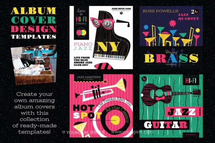 音乐节主题配色海报主视觉矢量素材模板