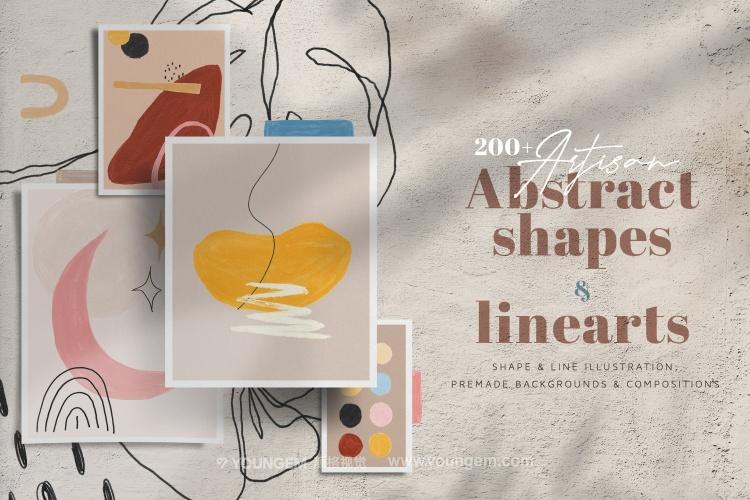 艺术抽象手绘线条图样主视觉矢量素材图片