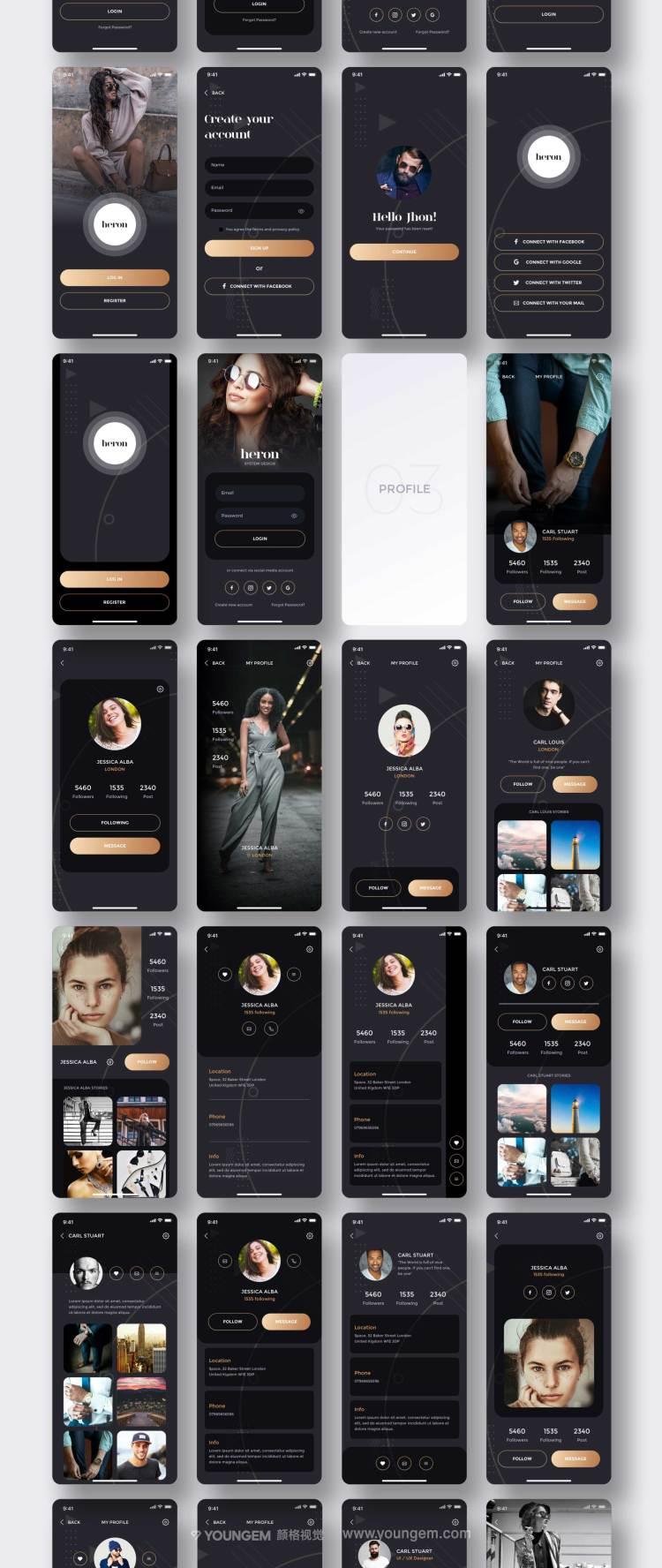 多用途创意暗色APP用户界面设计模板模板