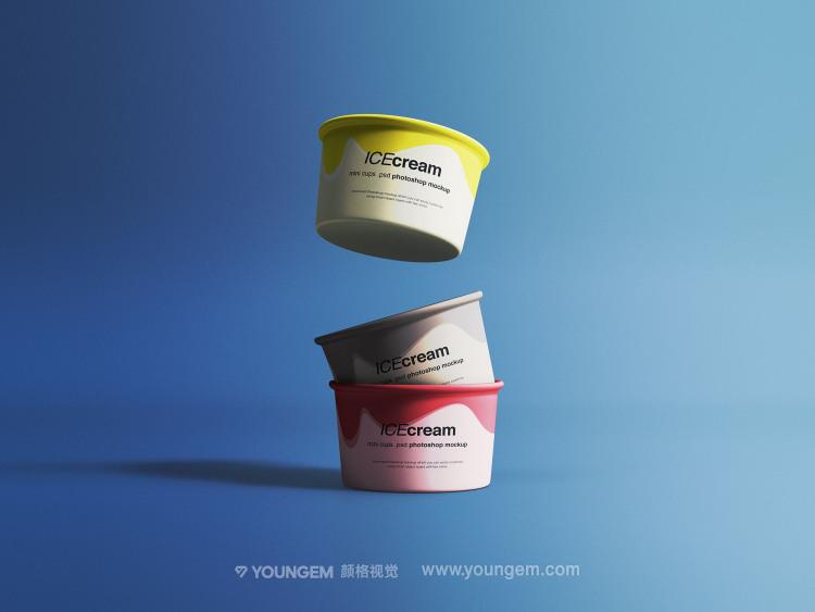 冰激凌冷饮纸杯产品包装样机展示素材图片