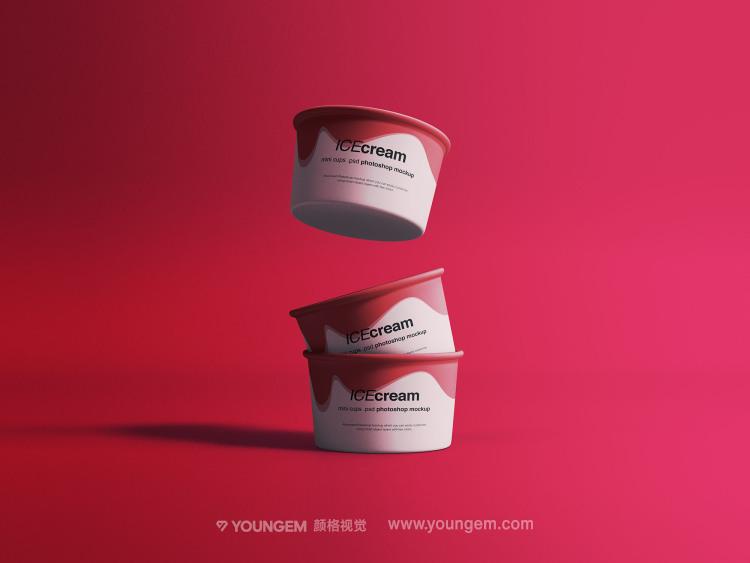 冰激凌冷饮纸杯产品包装样机展示素材素材