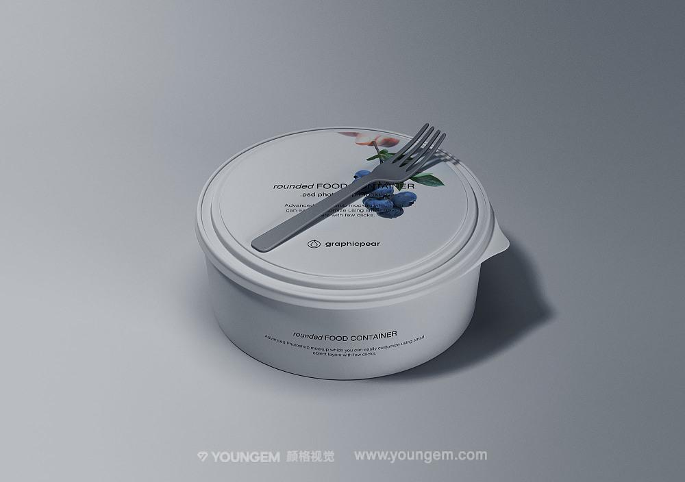 圆形一次性食品餐盒样机素材图片