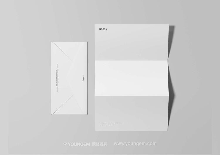 质感信纸信封折页文具样机素材图片