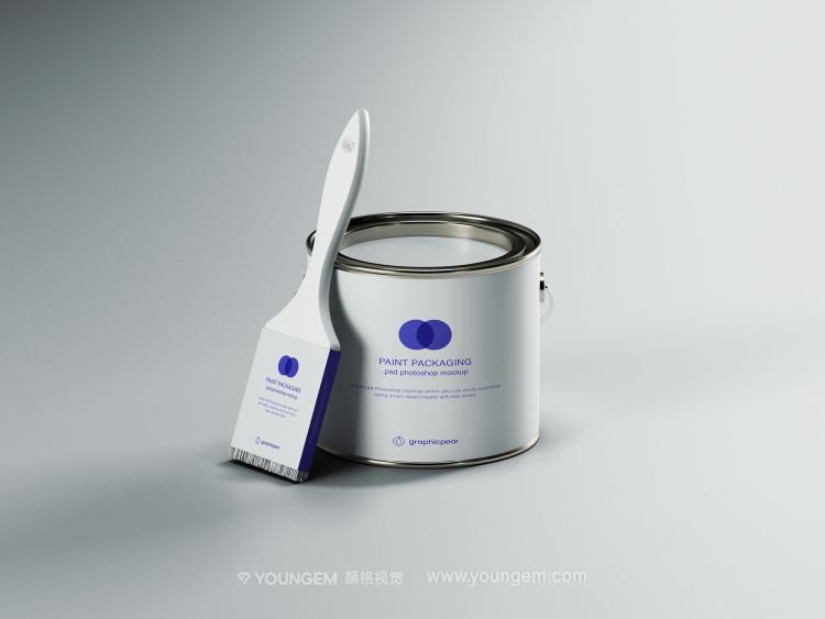 油漆桶毛刷产品包装样机素材图片