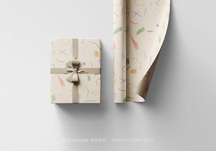 礼品包装纸多角度样机素材图片