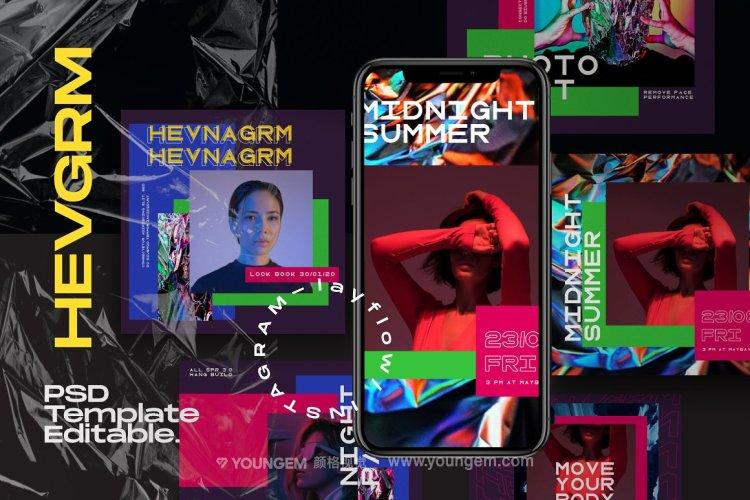 潮流炫彩撞色线上媒体潮牌公众号推文排版设计ps版式素材源文件图片