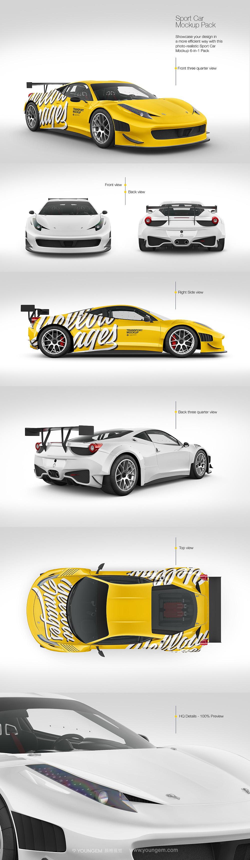 法拉利豪华超跑车贴膜改色设计ps贴图样机素材mockup源文件模板图片