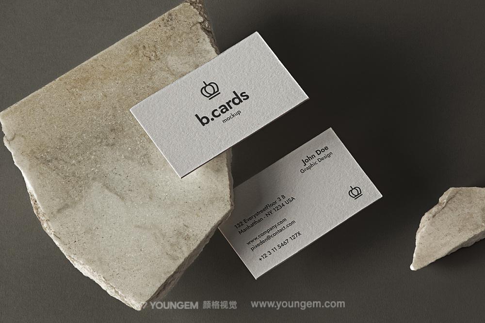 艺术纸商务名片卡片文具vi贴图ps样机设计素材mockup场景展示模板图片