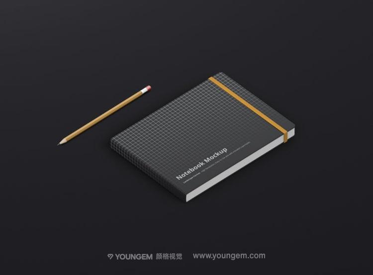 横版笔记本子手账文具vi贴图ps样机设计素材mockup展示效果模板素材