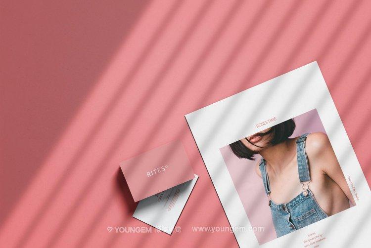 轻奢文艺光影文具品牌vi设计贴图ps样机素材mockup展示模板源文件模板