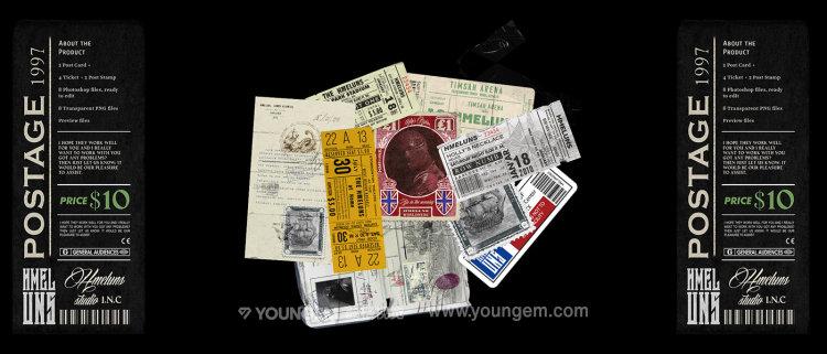 潮流复古做旧明星片门票证件不干胶贴纸邮票ps分层设计素材源文件图片