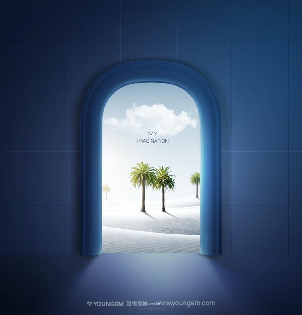 10款创意室外虚拟环境空间广告_10款创意ps合成视觉广告海报设计分层素材源文件素材