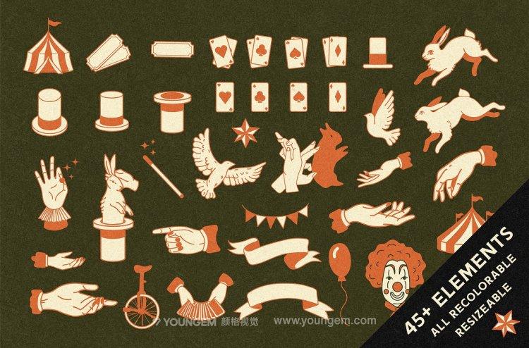 45款创意复古手绘插图ai插画_45款马戏团魔术icon图标设计素材源文件素材