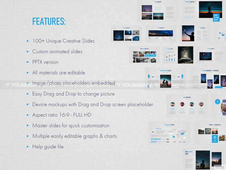 100+项目信息图表展示PPT模板免费下载素材