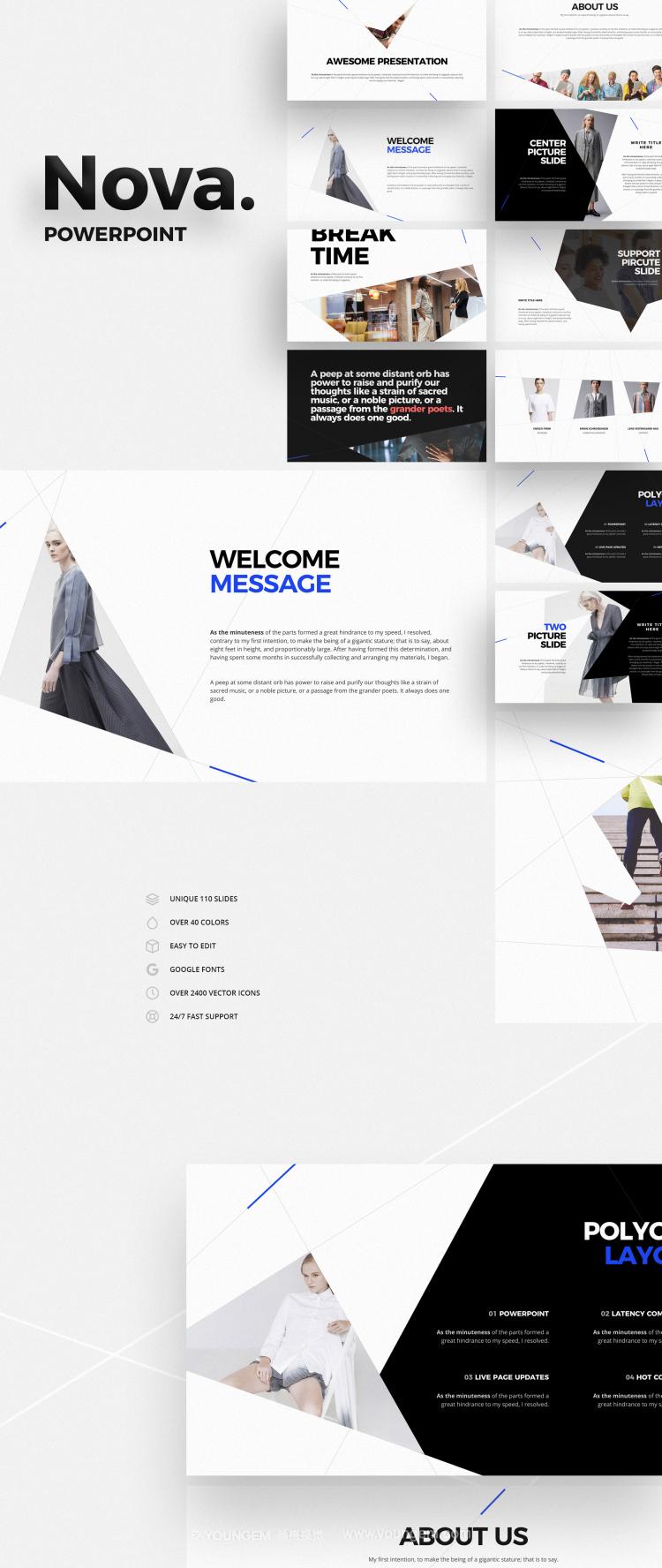 冷色调简洁创意商业PPT模板演示文稿图片