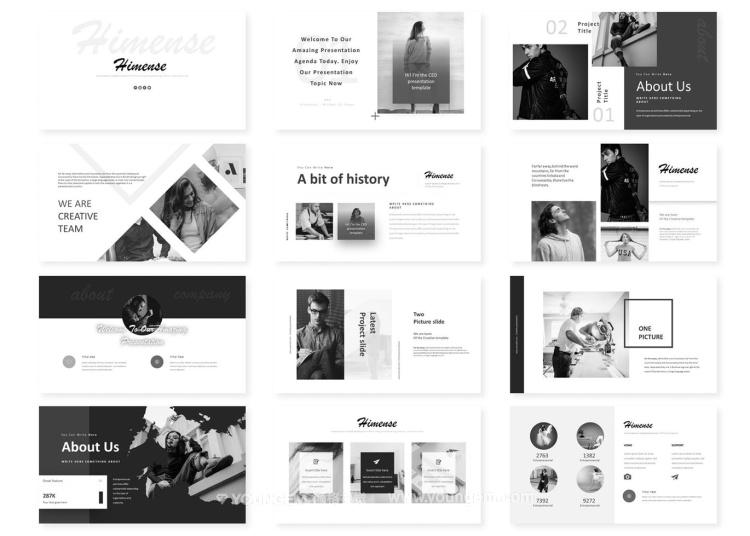 创意极简商业项目简报PPT模板演示文稿素材
