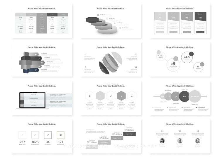 创意极简商业项目简报PPT模板演示文稿模板
