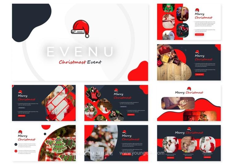 圣诞节活动展示PPT模板演示文稿图片