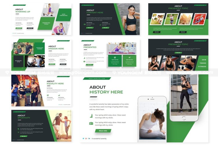 健身运动展示PPT模板演示文稿素材