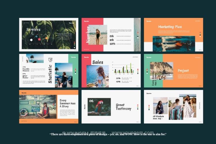 旅行度假景点介绍PPT模板演示文稿key素材