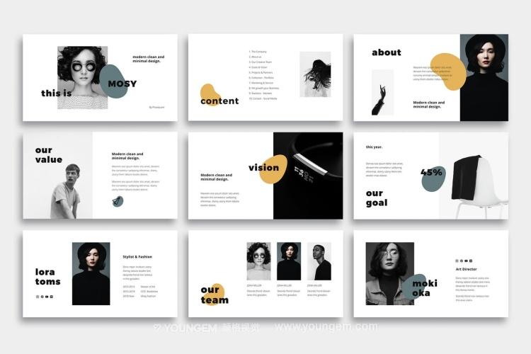 时尚项目简介汇报PPT模板演示文稿key素材