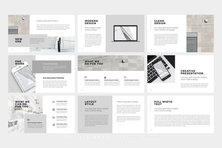 现代简约产品项目信息图表展示PPT模板演示文稿模板