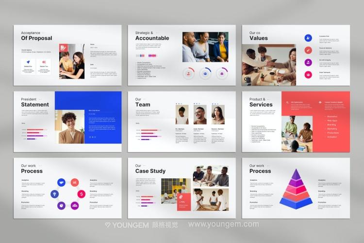 竖版创意杂志手册展示PPT模板演示文稿key素材