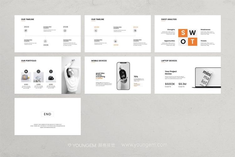 双色调信息图表商业PPT模板演示文稿key素材