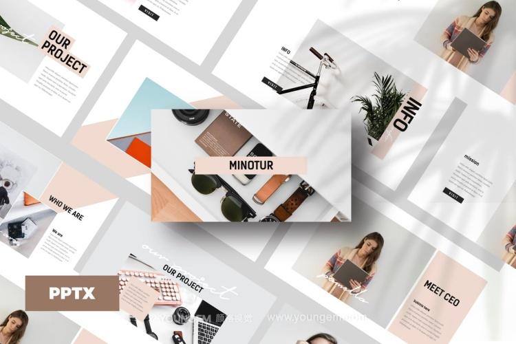 创意时尚作品展示商务PPT模板演示文稿图片