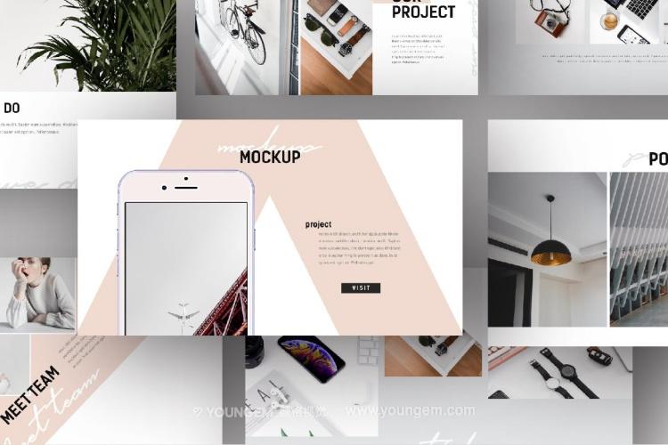创意时尚作品展示商务PPT模板演示文稿模板