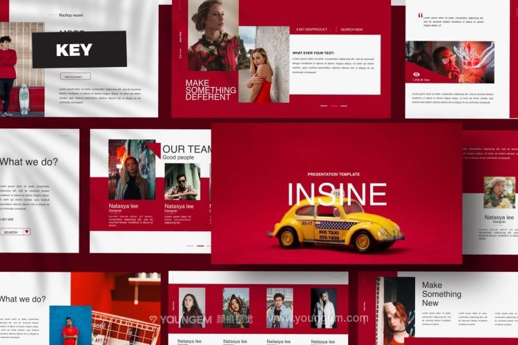 红色创意简报PPT模板演示文稿(key格式)图片