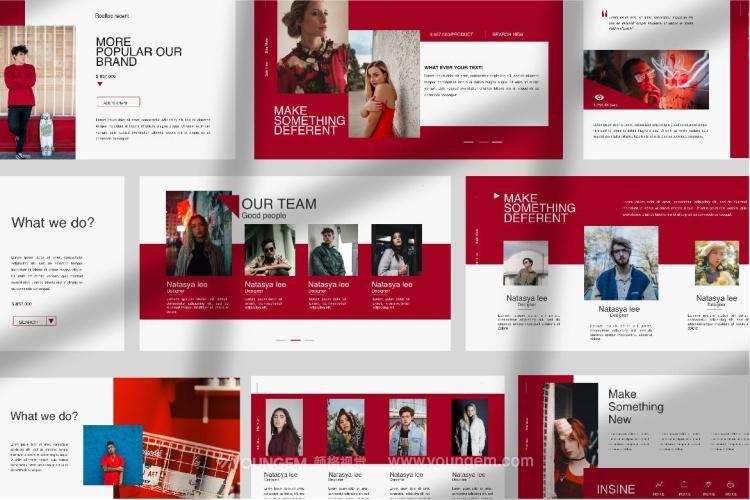 红色创意简报PPT模板演示文稿(key格式)素材