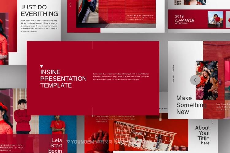红色创意简报PPT模板演示文稿(key格式)模板