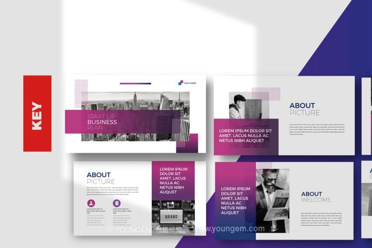 时尚简洁公司商业PPT模板演示文稿(key格式)图片