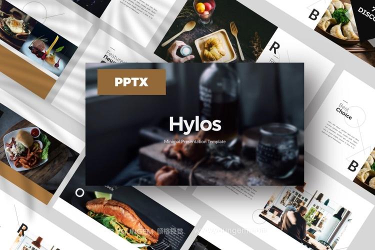 简约时尚餐厅美食PPT模板演示文稿图片