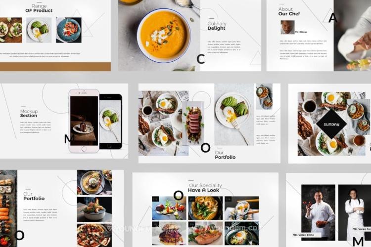 简约时尚餐厅美食PPT模板演示文稿模板