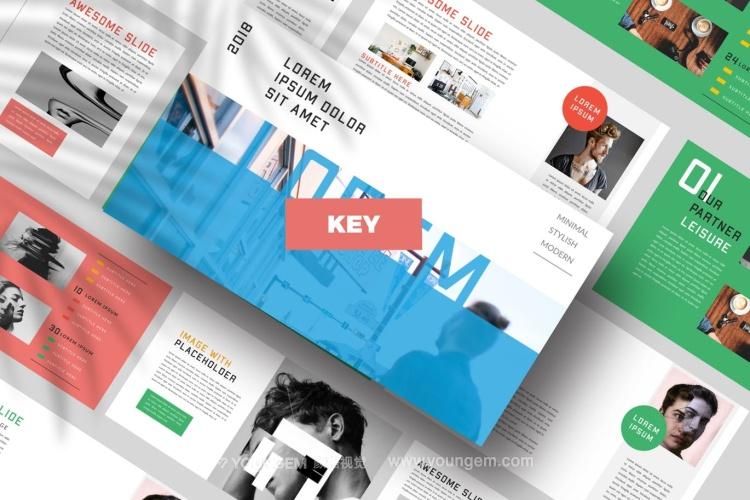 多彩的公司商务PPT模板演示文稿(key格式)图片