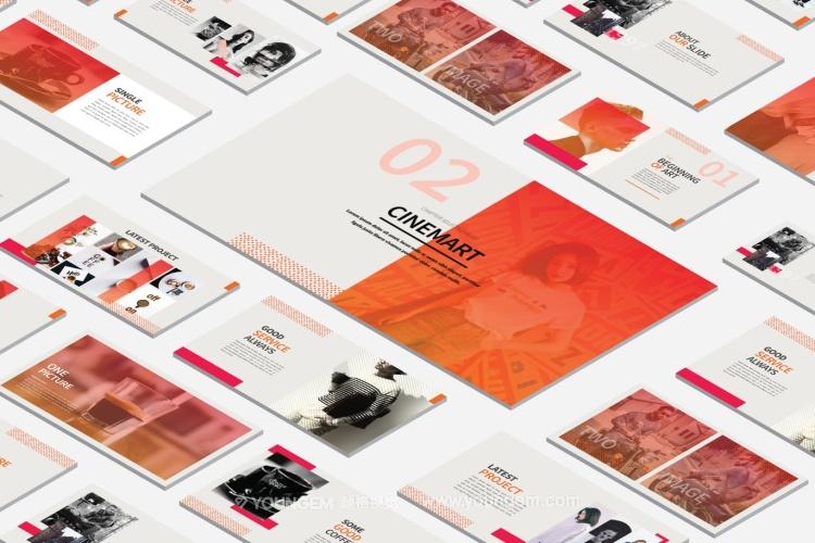 多用途时尚简约免费PPT模板网站图片