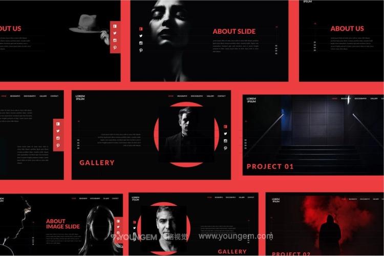 黑色质感商业项目介绍免费PPT模板下载素材