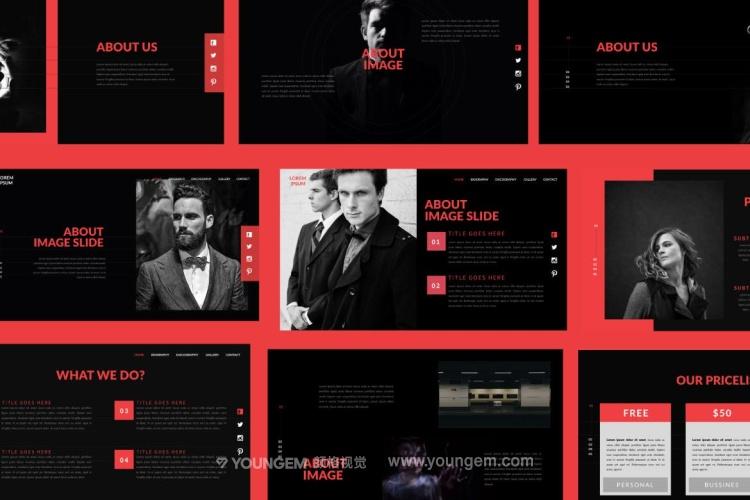 黑色质感商业项目介绍免费PPT模板下载模板