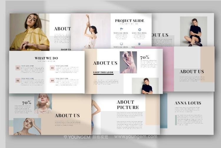 时装作品展示免费PPT模板下载(key格式)模板