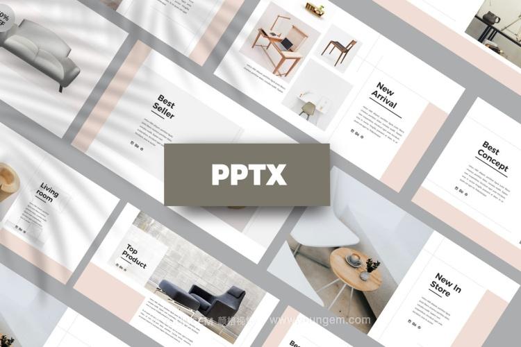 时尚生活家居展示PPT模板演示文稿图片