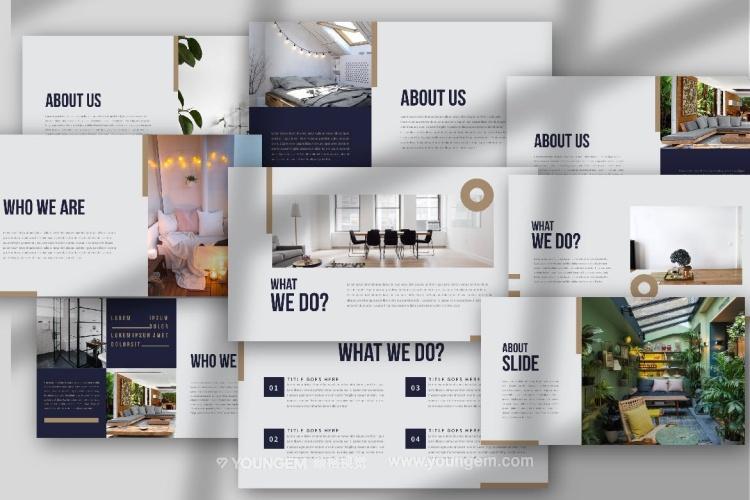 时尚室内家具展示PPT模板演示文稿(key格式)素材