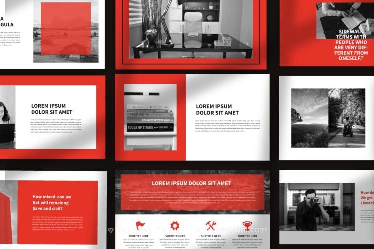 红色多用途项目展示PPT模板演示文稿(key格式)素材