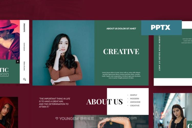 个性时装杂志展示PPT模板演示文稿图片