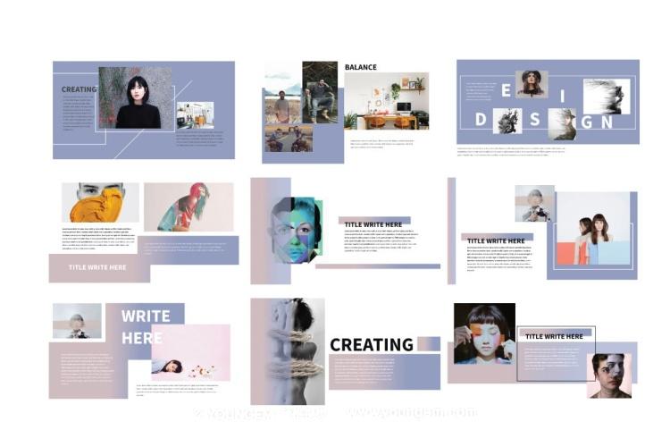 摄影作品项目展示PPT模板演示文稿素材