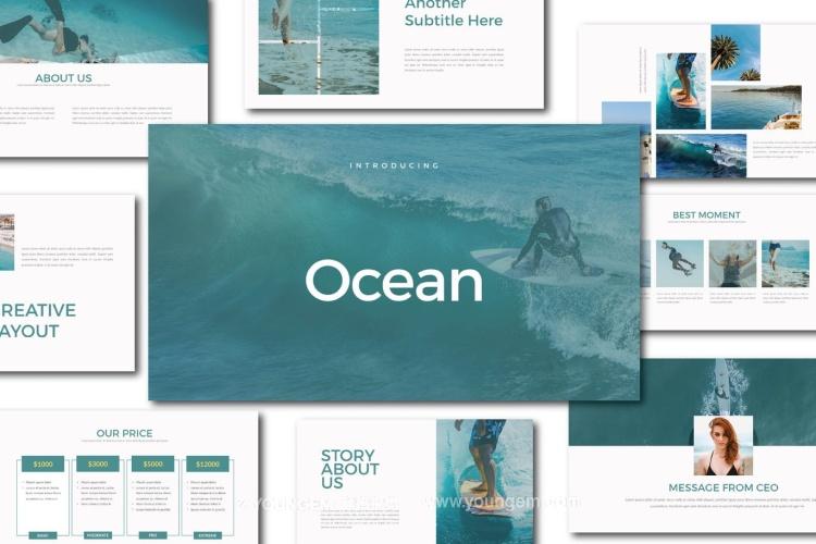 沙滩娱乐项目介绍PPT模板演示文稿图片